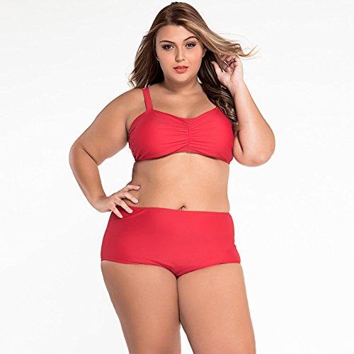 Yueyuefa Noir taille grande taille bikini maillot de bain Red