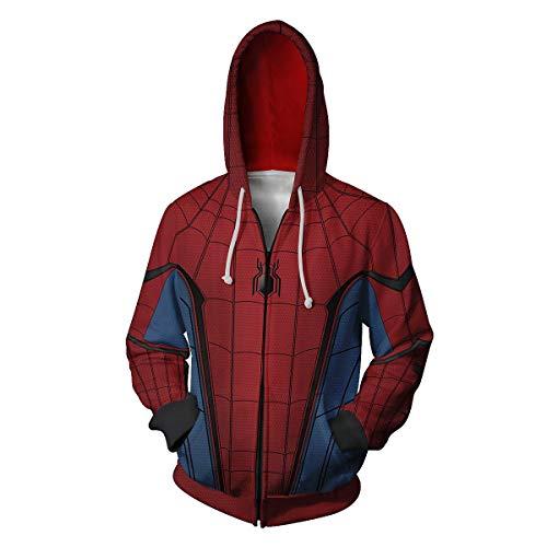 Zhangjianwangluokeji Weit Weg von zu Hause Spider Peter Parker Kostüm Halloween-Spiel Cosplay Zip Up Hoodie Jacke (XXL, Stil 4) (Hause Halloween-kostüm Zu)