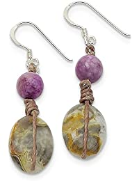 Sterling Silver Hand knotted Shepherd hook Crazy Lace Jasper and Lepidolite Dangle Earrings