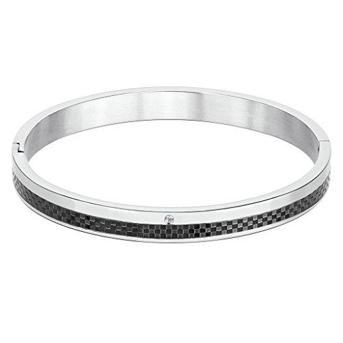 AMDXD Schmuck Edelstahl Herren Armband Quadrat Karo Runde Zirkonia Schwarz Silber Groß 18x0.8CM (Und Hermes Gold Schwarz In Armband)