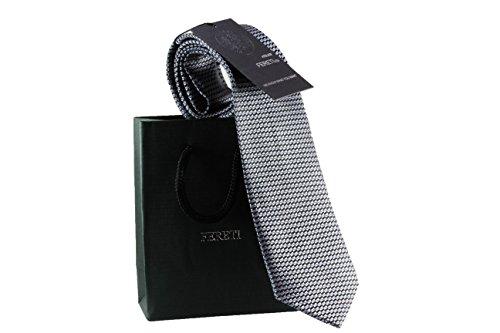 FERETI Grau Krawatte grau hellgrau silber einfarbig FÜR HERREN Premium Handgefertigt Designer -