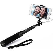 Palo Selfie Stick de Aluminio con Cable de Power Theory para Teléfonos Móviles Android, iPhone 6s, 6 Plus, 5, 5s, 5c, 4, 4s y Samsung Galaxy S3, S4, S5 y S6 Edge Mini. No Precisa Batería ni Bluetooth, Extensible, Telescópico, No Necesita Configuración