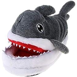 B Baosity Zapatillas de Animal de Peluche Pantuflas de Tiburón Mezcla de Algodón Suela Antideslizante para Casa Dormitorio