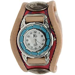Kc,s Leather Craft Watch Bracelet Three Concho Turquoise Movement Inlay Color Tan