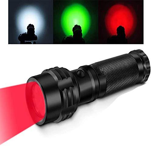 LED Handheld Taktische Taschenlampen,KINGCOO Mini Tasche Wasserdichtes Rotes/Grünes/Weißes Licht Führte Stift Taschenlampen Fackel für Jagd Fischen Gehender Wandern Detektor