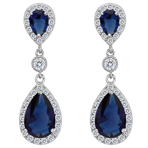 Clearine Damen 925 Sterling Silber Elegant Hochzeit Braut Cubic Zirconia Unendlichkeit Tropfen Pierced Dangle Ohrringe Saphirblau