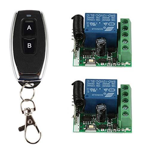 YLX Funkempfänger kabellose fernbedienung Schalter Licht Schalter nachrüsten 2-Kanal DC 12 V Relais-Modul und 433 MHz 1 Universal Wireless Fernbedienung