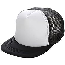 Tongshi Gorra de béisbol del visera de malla unisex en blanco ajustable del sombrero (Blanco)