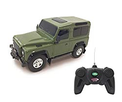 Jamara 405154 - Land Rover Defender 1:24 grün 27MHz - RC Auto, offiziell lizenziert, ca 1 Std fahren, 9 Km/h, perfekt nachgebildete Details, detaillierter Innenraum, hochwertige Verarbeitung