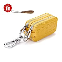 Leather Key Wallet HmiL-U Unisex Premium Double Zipper Leather Car Keychain Key Holder Key Case Pouch Bag Wallet??�With A Free Leather Lanyard??? (Yellow)