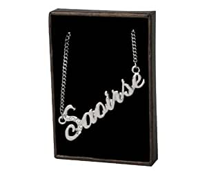 Nom Colliers Sana – Collier personnalisé Plaqué or Blanc 18 carats, Cristal Swarovski, un cadeau pour Noël, la St Valentin ou la Fête des Mères, vendu avec sac et boitier cadeaux.