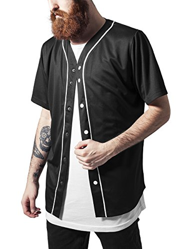 Urban Classics Baseball Mesh Jersey-T-shirt  Uomo, Mehrfarbig (blk/wht 50), Small