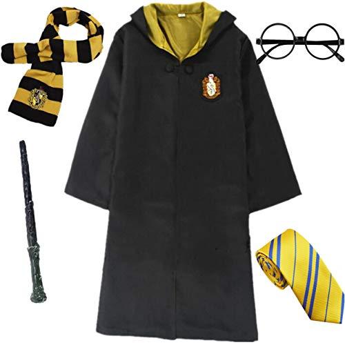 IWFREE Kostüm Umhang für Harry Potter Gryffindor Hufflepuff Ravenclaw Slytherin Set Kinder Erwachsene Cosplay Outfit Set Zauberstab Krawatte Schal Brille Karneval Verkleidung Fasching Halloween