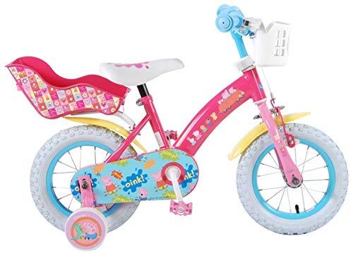 Vélo Enfant Fille Peppa Pig 12 Pouces Frein Avant sur Le Guidon et Rétropédalage Stabisateurs Panier Poupée-Porte Rose 85% Assemblé