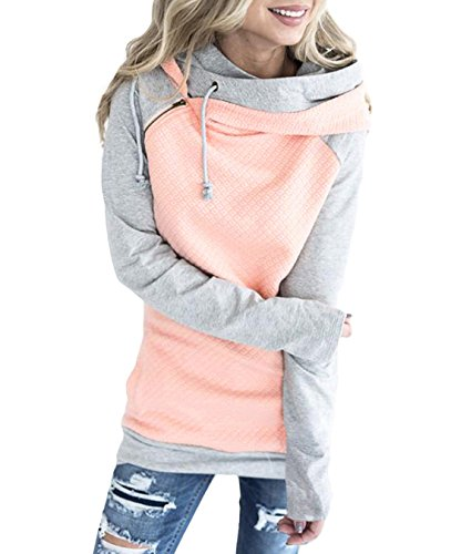 FASTYLING Women Casual Pullover Hooded Hoodies Long Sleeve Coat Loose Casual Sweatshirts XL/40 Rosa (Womens Baumwolle Hoodie Long)
