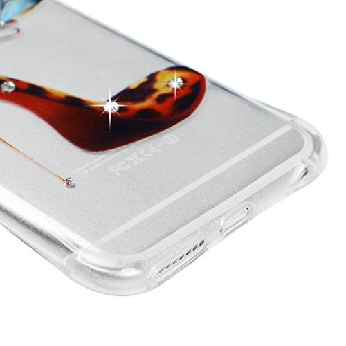IPhone 6 Plus / 6S Plus / 6G Plus 5.5 Pouces Coque - BADALINK Case Cover Housse de Protection TPU Souple Flexible Strass Bling Flash Entrant Appel Anti Rayure Anti-choc Motif Chaussures à Talons Hauts Motif Chaussures à Talons Hauts