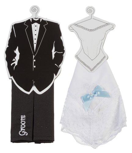 Darice VL2030 Bride and Groom Hankie Set, Black/White, 2 Per Pack by Darice