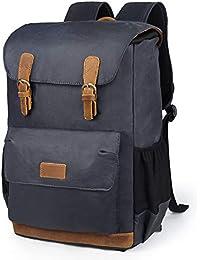 """Sac à dos en cuir imperméable EverVanz, sac à dos en toile imperméable, sac à dos de camping de voyage, grand sac à dos de jour décontracté, sac à dos d'école, sac à dos d'université, sac d'extérieur pour ordinateur portable 15"""""""