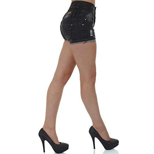 malucas Damen Jeans Hose Hotpants Hochbund Shorts Bermuda Capri Kurze Hose Hochschnitt Hoher Bund Stretch Schwarz