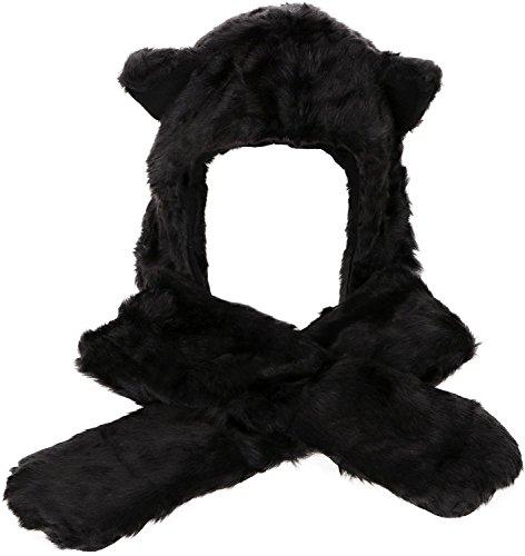 ze Damen Kapuzenschal Winter Plüschmütze Tiermütze Ohren mit Handschuhe Schal Kunstfell Schwarz (Machen Minecraft Kopf)
