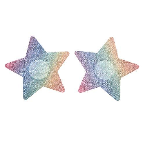 Homyl 2 Stück Damen Brust Aufkleber Glitter Sterne Muster Brust Klebe Nipple Covers Nippelabdeckung Brustschmuck Nippelkleber