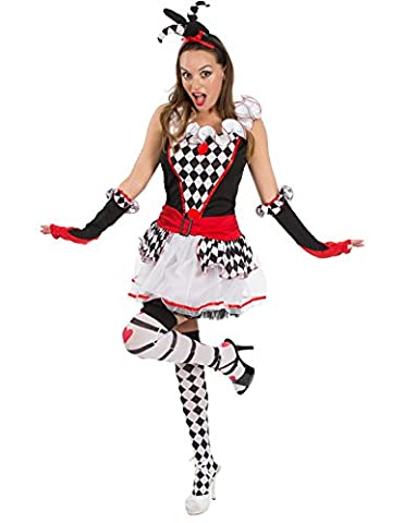 Costumes Classique Halloween Avec Un Twist - Ladies Sexy Harlequin Jester Circus Clown Short