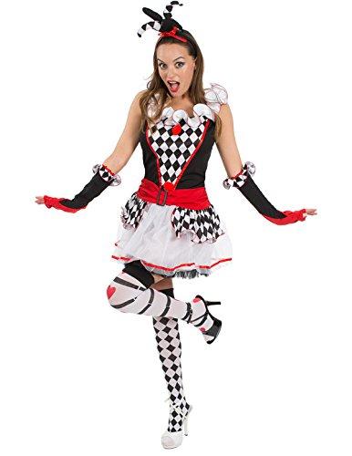 Jester In Kostüm (Sexy Damen Harlekin Jester Zirkusclown Kurze Verkleidung Karneval Kostüm)