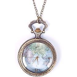 JaneDream 1pc Vintage World Map Pattern Quartz Chain Pendant Pocket Watch Necklace
