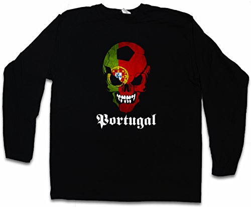 Black Classic FÚTBOL Football Soccer Portugal Skull Flag T-Shirt De Manga  Larga Long Sleeve d238226b7
