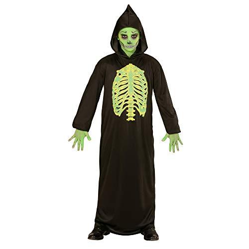 WIDMANN 00328 - Kinderkostüm Skelett Meister, Robe mit Kapuze, Größe 158, schwarz