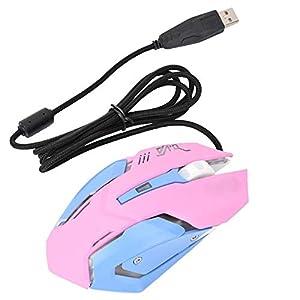 Bewinner 3200DPI High Sensitivity Mouse Pink Wired Gaming für anspruchsvolle und professionelle Spieler – Intelligente Verbindung, Keine Kodierung, Gaming-Maus mit Langer Lebensdauer