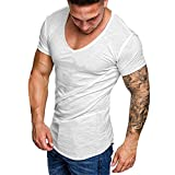Camiseta Hombre MISSWongg Blusa de Manga Corta Cuello en V Manga Corta para Hombre Cómodo Material Suave Camiseta Bolsillo Slim Fit Hombres Camisetas de Músculo Estilo Casual (Blanco, XXXL)