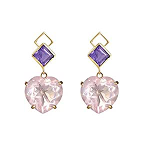 Gehna 18KT Yellow Gold, Amethyst and Quartz Drop Earrings for Women