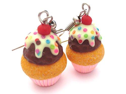 Schoko Topping - Törtchen Ohrringe Cupcake Ohrschmuck Ohrhänger