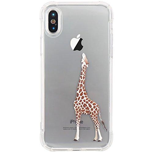 iPhone X Hülle, JIAXIUFEN Amüsant Wunderlich Design Flexible TPU Silikon Schutz Handy Hülle HandyHülle Schale Case Cover Huelle Schutzhülle handyhüllen für Apple iPhone X (2017) - Cat Music Swing Giraffe Eating