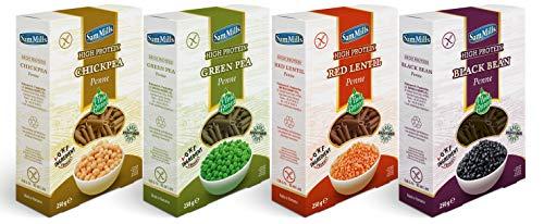 Sam Mills - Probierpaket glutenfreie Nudeln   1 x Linsen-, 1x grüne Erbsen-, 1 x Kichererbsen- und 1 x Bohnennudeln - 4 x 250 g Penne Kennenlernpaket