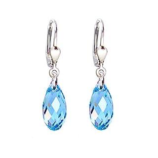 Schöner-SD, 925 Silber Ohrringe mit kleinen Kristallen von Swarovski® 13mm Farbe Aquamarin blau