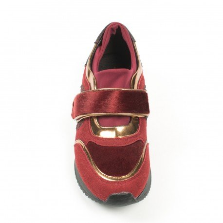 Ideal Shoes - Basket multi matières avec scratch Malinia Rouge