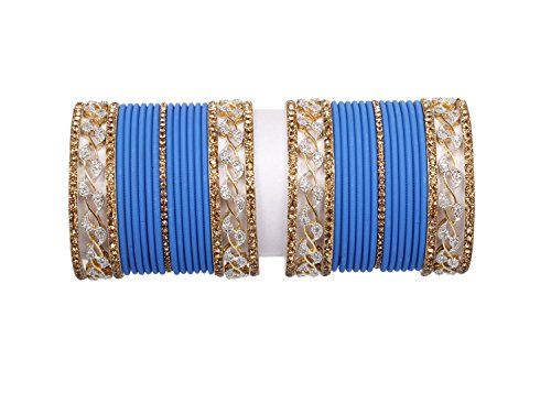 Traditional blue color Gold Latken Bangle set pair for women Wedding & party wear bangle set jewelry (2.4)