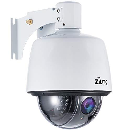 ZILNK PTZ IP Dome Kamera Outdoor, Überwachungskamera WLAN Aussen, 1080P Schwenk/Neige/5-Fach Optischer Zoom, IR-Nachtsich, IP65 wasserfest, Bewegungsmelder, Unterstützung von 128GB SD Karten