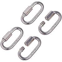 """INCREWAY 4 piezas M6/0,24"""" 304 acero inoxidable forma D mosquetón de bloqueo rápido enlace cadena conector llavero hebilla"""