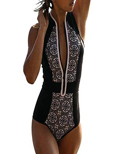 TUDUZ Retro Streifen Badeanzug Damen Sport mit Reißverschluss Einteiler Bademode Rollkragen Ärmellos Swimwear für Sommer (Schwarz, X-Large)
