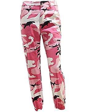 Mujeres Hombres Moda hibote Casual Camo Camuflaje Pantalones de Carga Militar Mujer Pantalones Sueltos Pantalones...