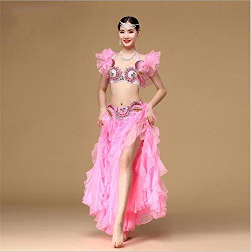 CO&CO Frauen Bauchtanz Kostüm BH Kleid Anzug , pink , (Kostüme Schwalbenschwanz Frauen)