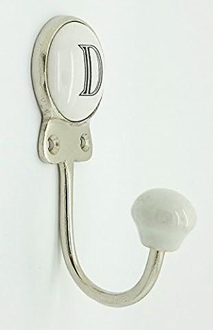 Alphabet Number Letter Ceramic Vintage Shabby Chic Coat Hook Porcelain (D)