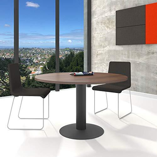 WeberBÜRO Optima runder Besprechungstisch Ø 120 cm Nussbaum Anthrazites Gestell Tisch Esstisch -