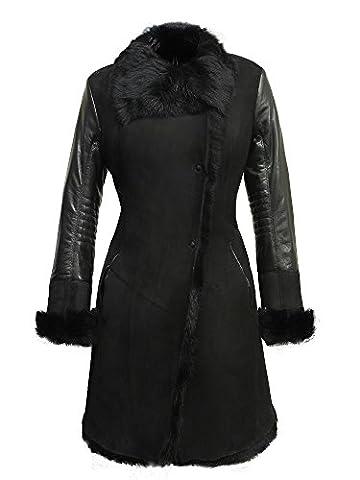 Brandslock Manteau en cuir véritable de mouton en peau de mouton en vrac pour femmes de luxe Shearling Merino Toscana (4XL/20, Noir)