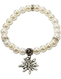 Alpenflüstern Perlen-Trachten-Armband Fiona mit Strass-Edelweiß - Damen-Trachtenschmuck, Elastische Trachten-Armkette, Perlenarmband in Traditionellen Farben DAB011
