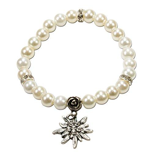 Alpenflüstern Perlen-Trachten-Armband Fiona mit Strass-Edelweiß - Damen-Trachtenschmuck, elastische Trachten-Armkette, Perlenarmband creme-weiß DAB011