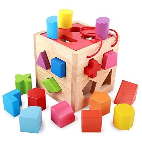 Feinmotorik, Holzklötze für Kleinkinder mit frühkindlichen Lernspielzeugen 0-2-3 Jahre alt Säugling Bausteine   Kinderaufklärung -